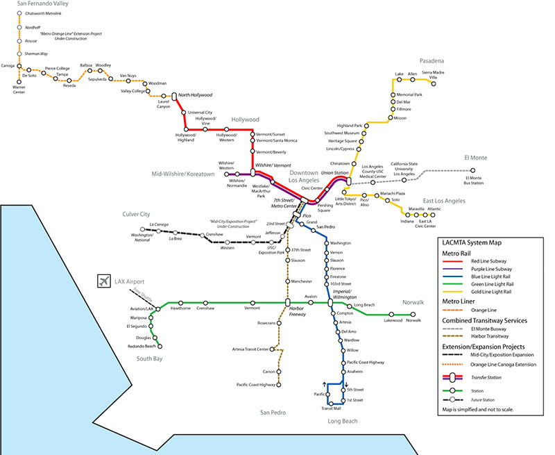 Los Angeles Public Transportation Map