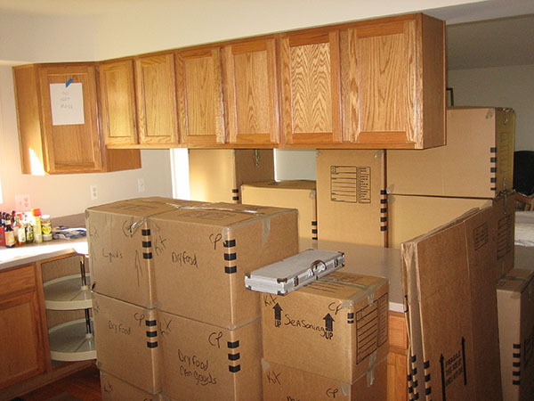 Moving Boxes in a Kitchen