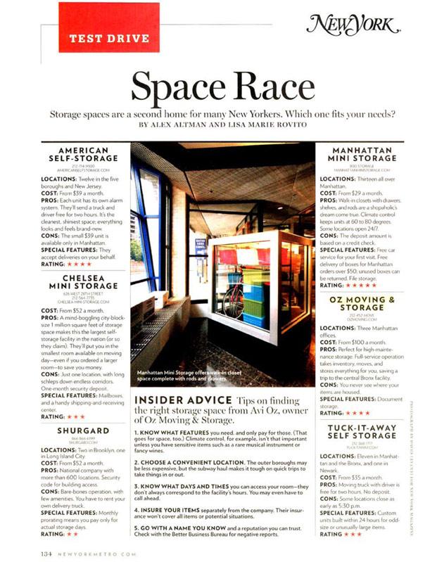 New York Magazine Gives Oz S Storage 4 Stars Space Race Mini Storage Storage Spaces