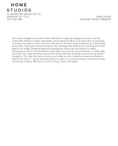 Home Studios Recommendation Letter