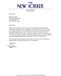 A. Bradley New Yorker Testimonial